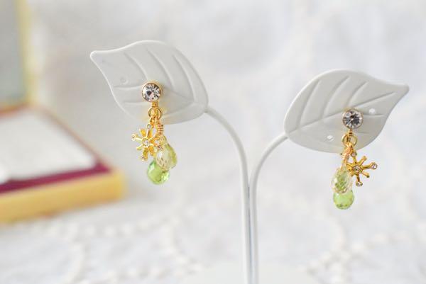 ペリドットとレモンクォーツのイヤリング