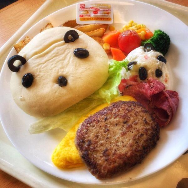 おやこパンダのハンバーグ&サラダ。上野グリーンサロンで楽しむパンダフェア!2018年春。5/100blogs
