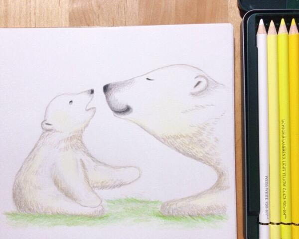 愛情いっぱいの目を描く瞬間が、とても楽しかった。色鉛筆画、れんしゅう第1号。【まいにち色鉛筆12/Mar/2019】6/100blogs